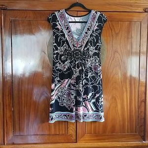 Eci Black with Multi Color Floral Prints Size M